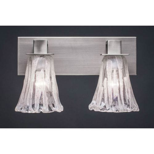 Toltec Lighting Apollo Graphite Two Light Bath Fixture with 5.5-Inch Fluted Italian Ice Glass
