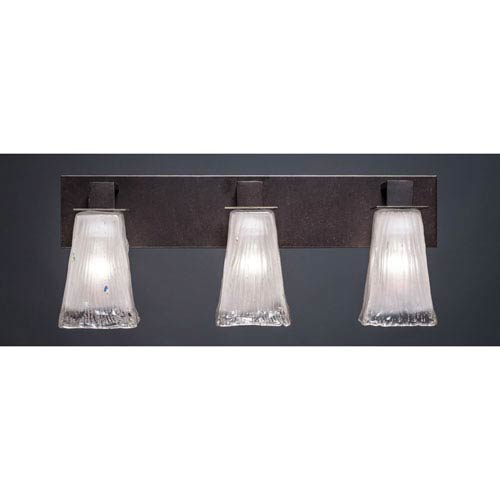 Toltec Lighting Apollo Dark Granite 5-Inch Three Light Bathroom Wall Lighting with Square Frosted Crystal Glass