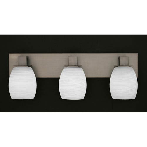 Toltec Lighting Apollo Graphite Three Light Bath Fixture with 5-Inch White Linen Glass