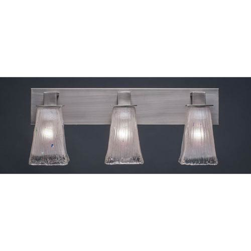 Toltec Lighting Apollo Graphite Three Light Bath Fixture with 5-Inch Square Frosted Crystal Glass