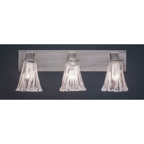 Toltec Lighting Apollo Graphite Three Light Bath Fixture with 5.5-Inch Fluted Italian Ice Glass