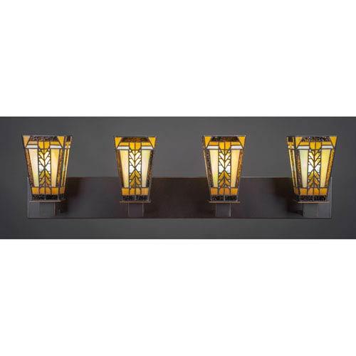 Toltec Lighting Apollo Dark Granite Four-Light Vanity Fixture with Santa Cruz Tiffany Glass