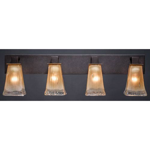 Toltec Lighting Apollo Dark Granite 5-Inch Four Light Bathroom Wall Lighting with Square Amber Crystal Glass