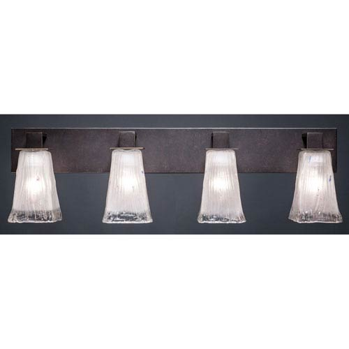Toltec Lighting Apollo Dark Granite 5-Inch Four Light Bathroom Wall Lighting with Square Frosted Crystal Glass