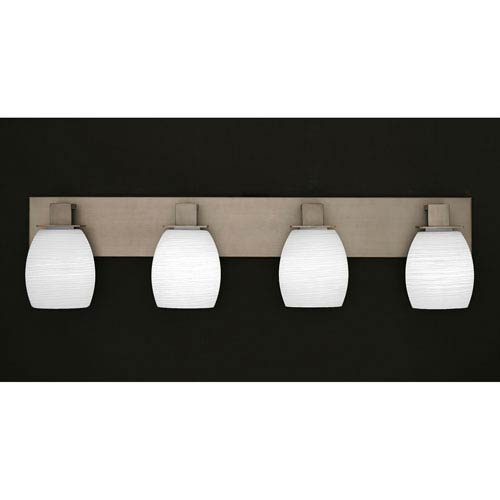 Apollo Graphite Four Light Bath Fixture with 5-Inch White Linen Glass