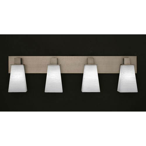 Toltec Lighting Apollo Graphite Four Light Bath Fixture with 5-Inch Square White Linen Glass
