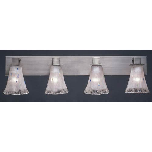 Toltec Lighting Apollo Graphite Four Light Bath Fixture with 5.5-Inch Fluted Frosted Crystal Glass