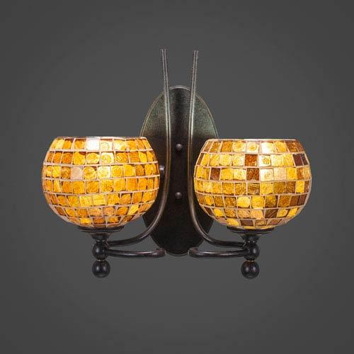 Toltec Lighting Capri Two-Light Wall Sconce - Dark Granite Finish with 6 Inch Mosaic Glass