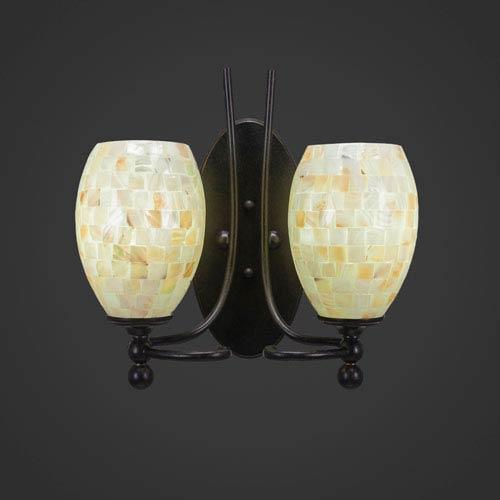 Toltec Lighting Capri Two-Light Wall Sconce - Dark Granite Finish with 5 Inch Sea Shell Glass