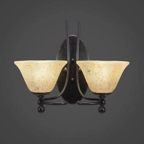 Toltec Lighting Capri Two-Light Wall Sconce - Dark Granite Finish with 7 Inch Italian Marble Glass
