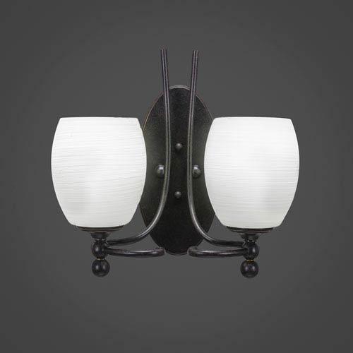 Toltec Lighting Capri Dark Granite Two-Light Wall Sconce w/ 5-Inch White Linen Glass