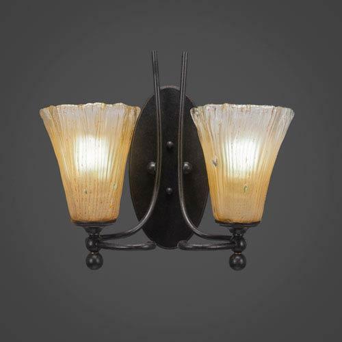 Toltec Lighting Capri Dark Granite Two-Light Wall Sconce w/ 5.5-Inch Amber Crystal Glass