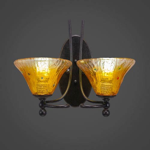 Toltec Lighting Capri Two-Light Wall Sconce - Dark Granite Finish with 7 Inch Gold Champagne Crystal Glass