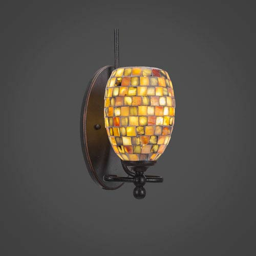 Toltec Lighting Capri Dark Granite One Light Wall Sconce with 5-Inch Sea Shell Glass