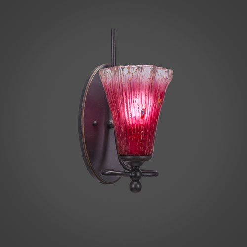 Toltec Lighting Capri Dark Granite One Light Wall Sconce with 5.5-Inch Raspberry Crystal Glass