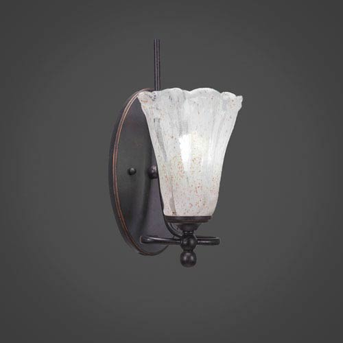 Toltec Lighting Capri Dark Granite One-Light Wall Sconce w/ 5.5-Inch Italian Ice Glass