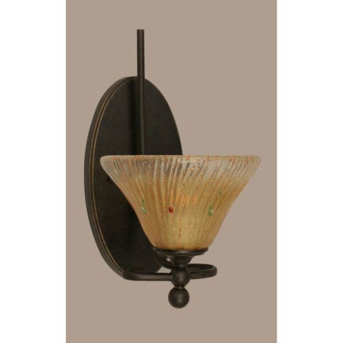 Toltec Lighting Capri Dark Granite One-Light Wall Sconce w/ 7-Inch Amber Crystal Glass