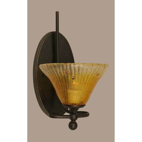 Toltec Lighting Capri Dark Granite One Light Wall Sconce with 7-Inch Gold Champagne Crystal Glass