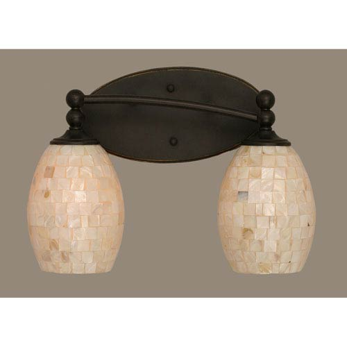 Toltec Lighting Capri Dark Granite Two Light Bath Fixture with 5-Inch Sea Shell Glass