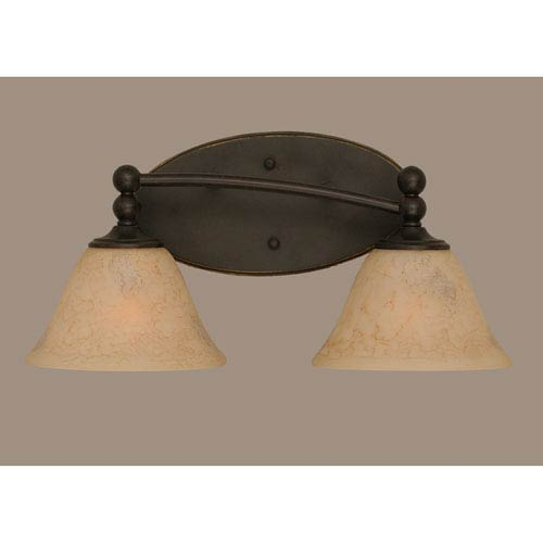 Toltec Lighting Capri Dark Granite Two Light Bath Fixture with 7-Inch Italian Marble Glass
