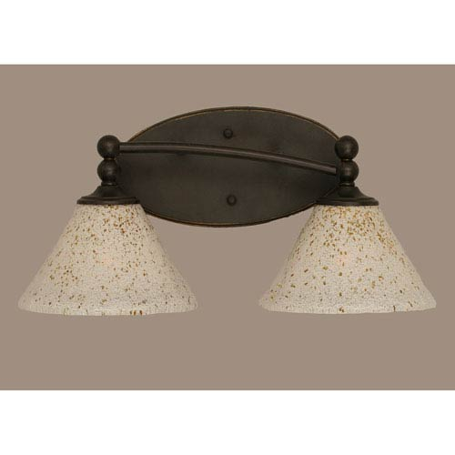 Toltec Lighting Capri Dark Granite Two Light Bath Fixture with 7-Inch Gold Ice Glass