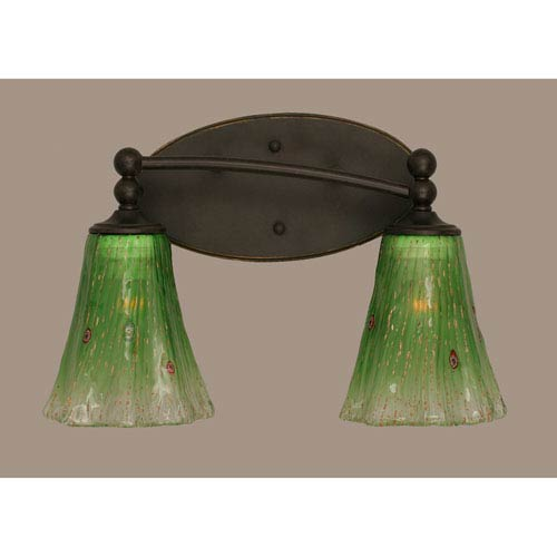 Capri Dark Granite Two Light Bath Fixture with 5.5-Inch Kiwi Green Crystal Glass