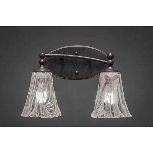 Toltec Lighting Capri Dark Granite Two-Light Bath Bar w/ 5.5-Inch Italian Ice Glass