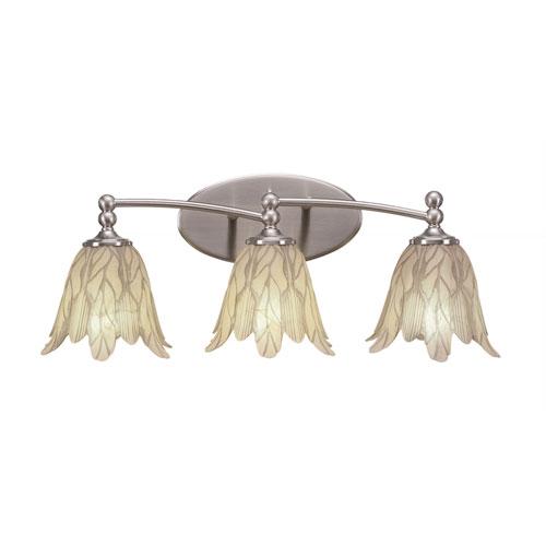 Capri Brushed Nickel Three-Light Bath Bar with 7-Inch Vanilla Leaf Glass