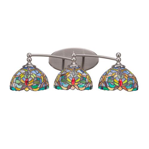 Capri Brushed Nickel Three-Light Bath Bar with 7-Inch Kaleidoscope Tiffany Glass