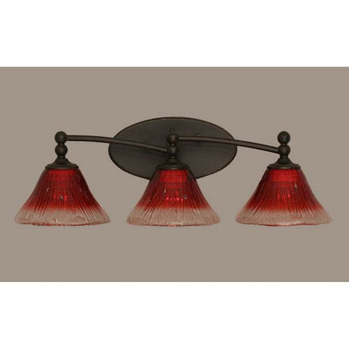 Toltec Lighting Capri Dark Granite Three Light Bath Fixture with 7-Inch Italian Ice Glass
