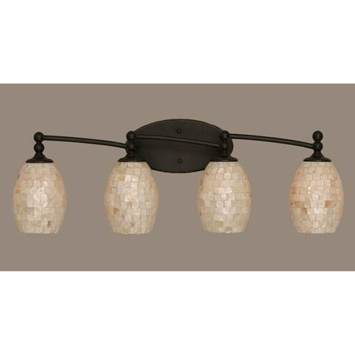 Toltec Lighting Capri Dark Granite Four Light Bath Fixture with 5-Inch Sea Shell Glass