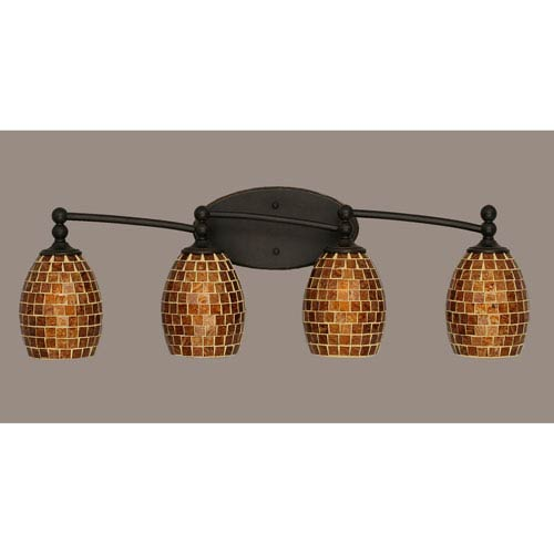Toltec Lighting Capri Dark Granite Four Light Bath Fixture with 5-Inch Mosaic Glass