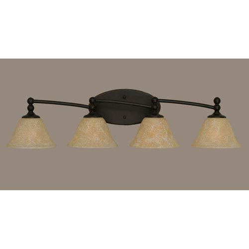 Toltec Lighting Capri Dark Granite Four-Light Bath Bar w/ 7-Inch Amber Marble Glass