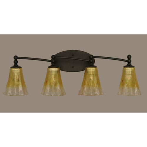 Toltec Lighting Capri Dark Granite Four Light Bath Fixture with 5.5-Inch Gold Champagne Crystal Glass