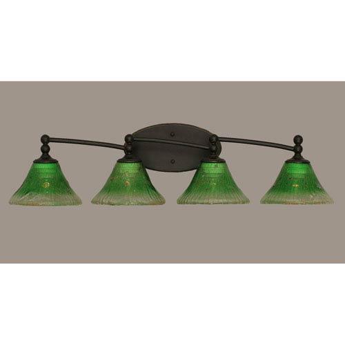 Toltec Lighting Capri Dark Granite Four Light Bath Fixture with 7-Inch Kiwi Green Crystal Glass