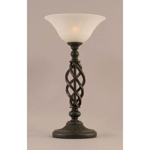 Elegante Dark Granite Table Lamp with White Marble Glass