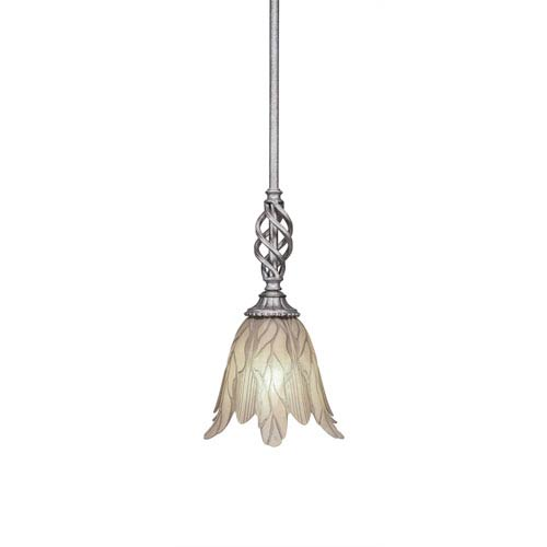 Elegante Aged Silver One-Light Mini Pendant with Vanilla Leaf Glass