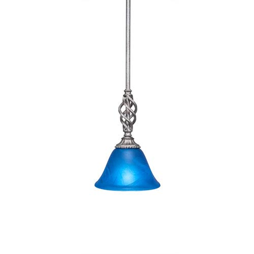 Elegante Aged Silver One-Light Mini Pendant with Blue Italian Glass