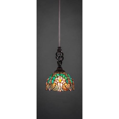 Elegante Dark Granite One-Light Pendant with Cypress Tiffany Glass