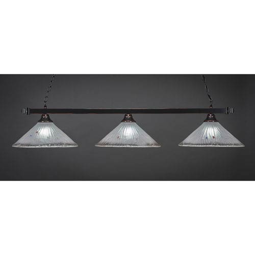 Toltec Lighting Billiard Black Copper Square Three-Light Island Pendant with 16-Inch Frosted Crystal Glass Shade