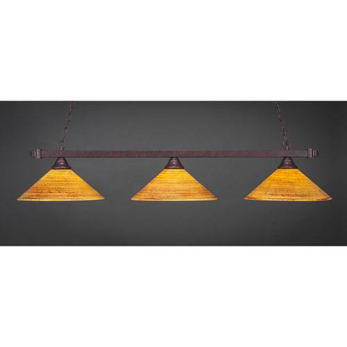 Billiard Bronze Square Three-Light Island Pendant with 16-Inch Firre Saturn Glass Shade