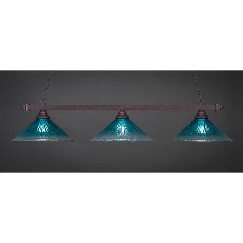 Billiard Bronze Square Three-Light Island Pendant with 16-Inch Teal Crystal Glass Shade