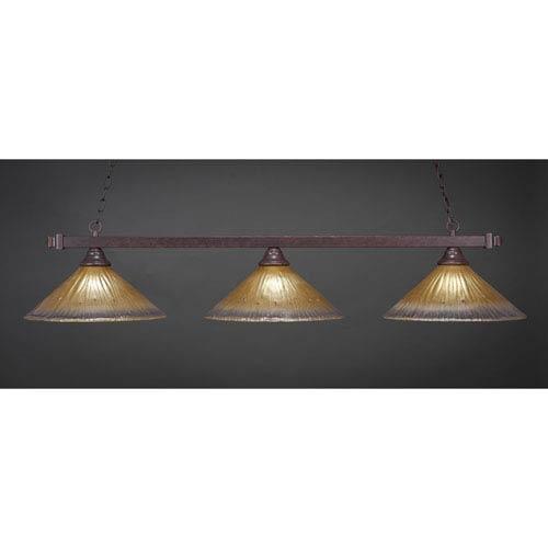 Square Dark Granite Billiard Light with Amber Crystal Glass