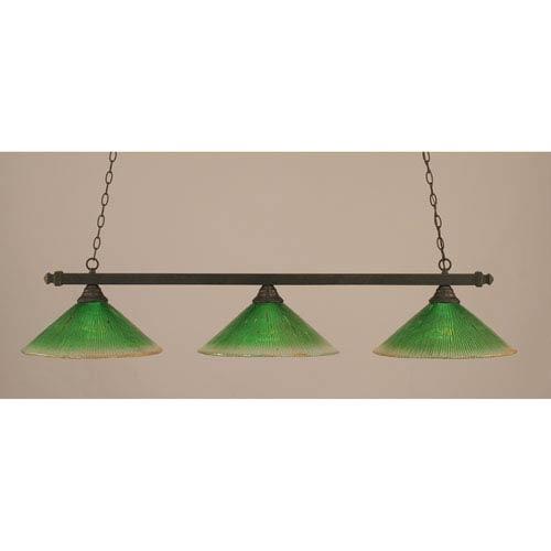Square Dark Granite Billiard Light with Kiwi Green Crystal Glass