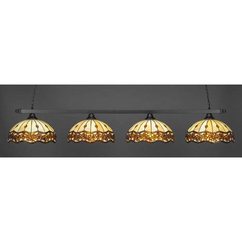Square Matte Black Four-Light Island Pendant with Roman Jewel Tiffany Glass