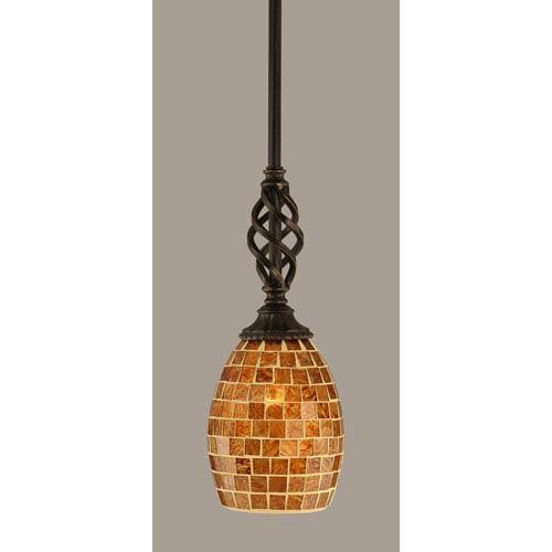 Elegante Dark Granite 5-Inch One Light Mini Pendant with Copper Mosaic Glass