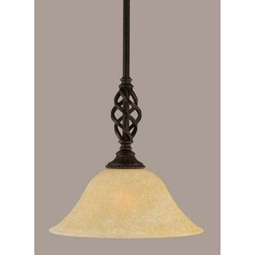 Elegante Dark Granite 10-Inch One Light Mini Pendant with Amber Marble Glass