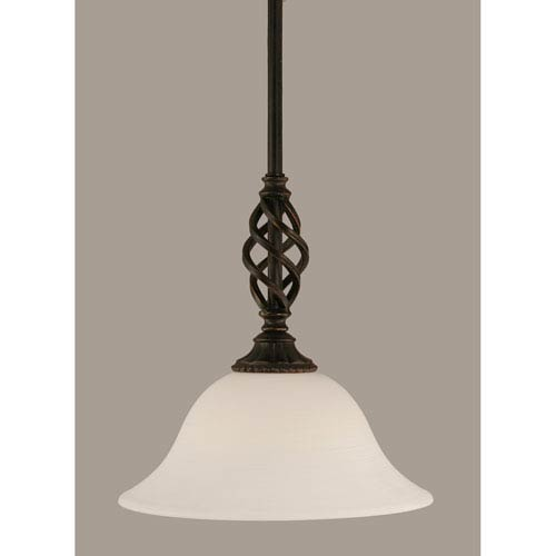 Toltec Lighting Elegante Dark Granite 10-Inch One Light Mini Pendant with White Linen Glass