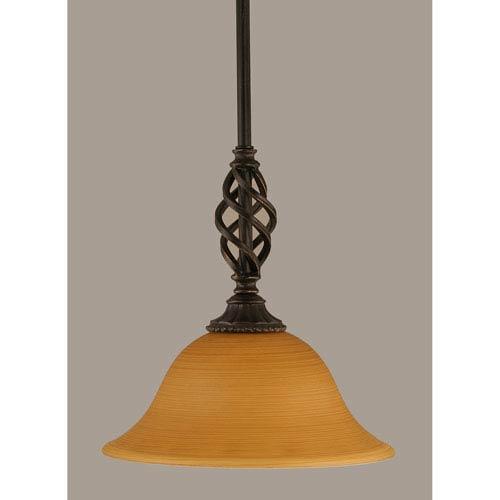 Toltec Lighting Elegante Dark Granite 10-Inch One Light Mini Pendant with Cayenne Linen Glass