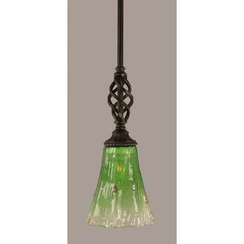 Toltec Lighting Elegante Dark Granite 5.5-Inch One Light Mini Pendant with Kiwi Green Crystal Glass